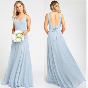 Show Me Your Mumu Jenn Steel Blue Dress M NO SASH